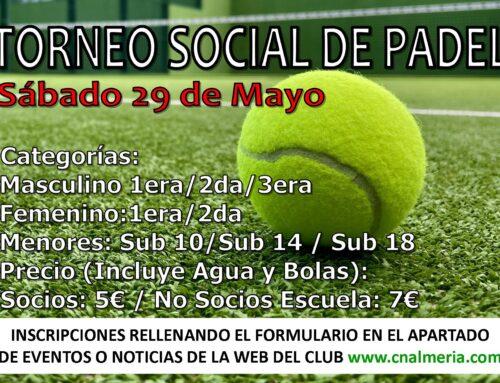 HORARIOS DE JUEGO TORNEO SOCIAL PÁDEL – SÁBADO 29 DE MAYO